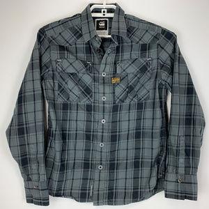 G-Star Raw Mens Gray Plaid Shirt Medium EUC